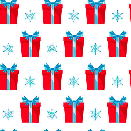 Seamless pattern red gift boxes with blue ribbon and bow on white background. Christmas, surprise, anniversary concept for wrapping, wallpaper, backdrop.