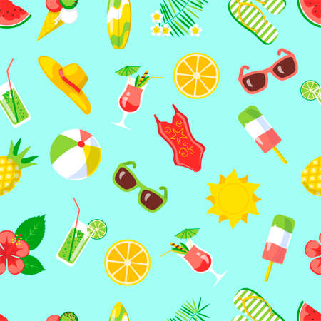 Seamless pattern with summer holidays icons on blue background. Beach, recreation, summertime concept for wallpaper, wrapping, backdrop. 版權商用圖片 - 155491402