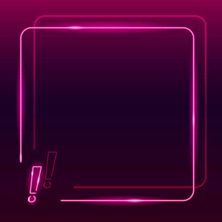Neon frame with exclamation mark icon on dark purple gradient background. Square textplace template. Warning, caution, mportant information, attention concept. Night signboard style. Vector 10 EPS illustration.