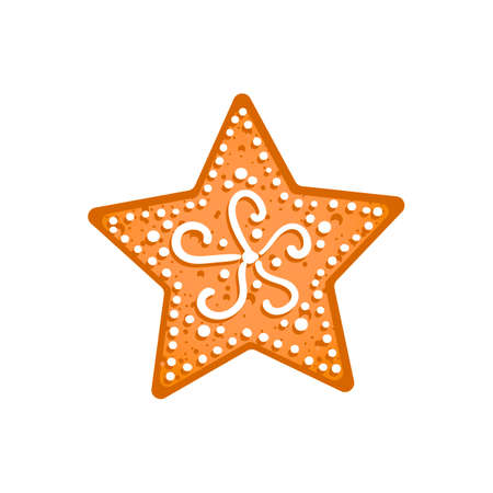 Gingerbread star-shape cookie isolated on white background. Traditional Christmas homemade treat. Concept of winter holidays. Vector EPS 10 illustration. Vetores