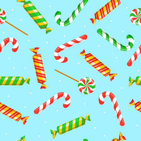 Seamless pattern with Christmas candies and on blue background. Xmas, New Year, lollipop, sweets concept for wrapping, wallpaper, backdrop, print, textile. Vector 10 EPS illustration. Illustration