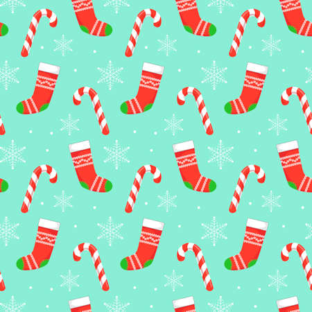 Seamless pattern with red Christmas stockings, candys and snowflakes on blue background. Christmas, winter concept for wrapping, wallpaper, backdrop. Vector illustration EPS 10.