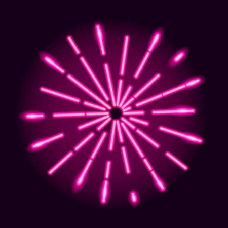 Neon explosion of radial glowing rays on dark purple background. Starburst design element. Vector 10 EPS illustration.