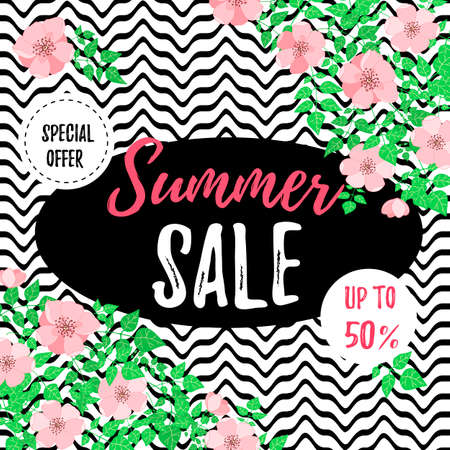 Summer sale banner with dog-rose flowers. Design for advertising banners, labels, posters, web presentation. Vector illustration.