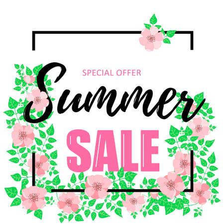 Summer sale banner with dog-rose flowers. Design for advertising banners, labels, posters, web presentation. Vector illustration. Vector 10 EPS illustration.