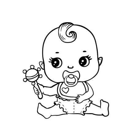Cute baby in diaper with rattle for coloring page or book. Black and white vector illustration of cartoon child character.