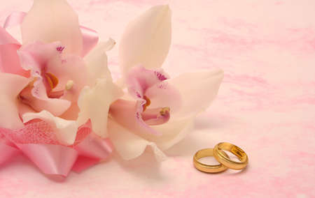 Orich with Wedding Gold Wedding Bands on Pink Background
