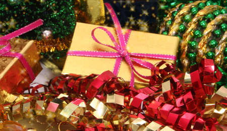 Christmas Gift with Ornaments and Ribbon, Shallow DOF
