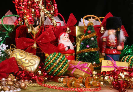 Christmas Ornaments and Gifts with Ribbons and Decorations
