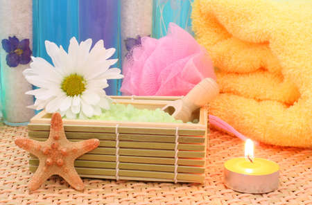 Bath Salts with Flowers and Candle