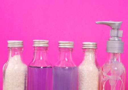 Bath and Spa Products on Pink Background Stok Fotoğraf