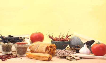 Tamales with Tomato and Spices Stock Photo