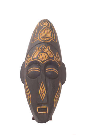 Wooden Mask From Bali on White Background Stok Fotoğraf