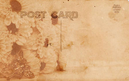 Vintage Style Postcard with Flowers and Victorian Butterfly