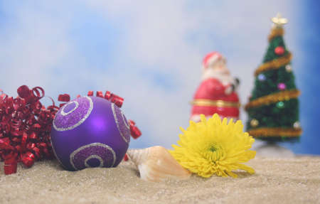 Christmas Ornament and Flower With Christmas Tree, Shallow DOF