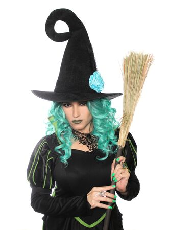 Witch With Broom on White Background