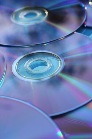Blank CD or DVD Media Storage Close-up