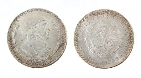 1962 1 Peso Coin From Mexico Imagens