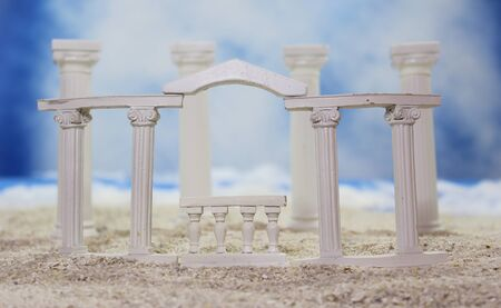 Tropical Beach With Roman Style Ruins
