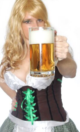 Pub or Tavern Waitress with Beer on White Background Foto de archivo