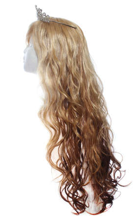 Two Toned Blond Wig on Mannequin Head with tiara, white background Banque d'images