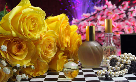 Yellow Roses With Perfume and Jewelry