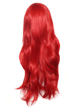 Red Wig on mannequin head isolated on white background Stockfoto