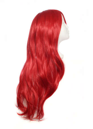 Red Wig on mannequin head isolated on white background