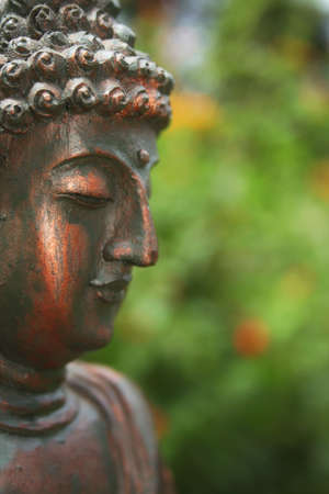 Buddha Statue Outdoors in Garden With Blurred Background