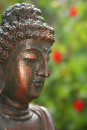 Buddha Statue Outdoors in Garden With Blurred Background Banque d'images