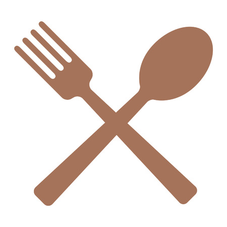 Crossed spoon and fork flat icon for apps and websites