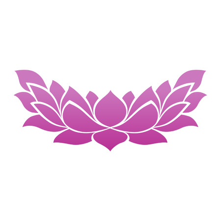 lotus leaf: Lotus flower tattoo icon for zen yoga spa and meditation