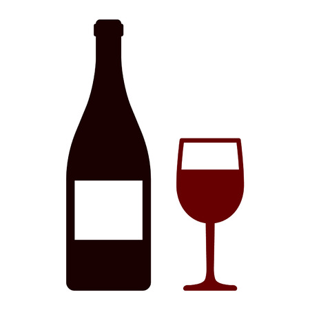aperitif: Wine bottle and wine glass flat icon for apps and websites