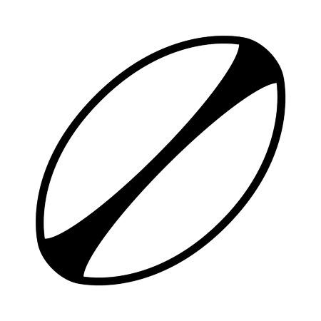Pelota de rugby blanca con rayas icono del arte de línea