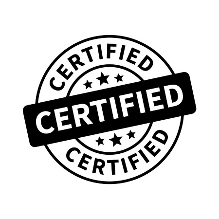 certified stamp: Certified stamp, label, sticker or stick flat icon Illustration