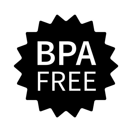 phthalates: BPA bisphenol A and phthalates free flat badge icon for non toxic plastic Illustration