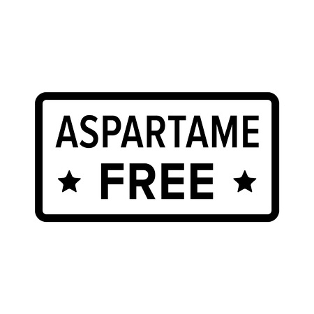 carcinogen: Edulcorante artificial aspartamo sello libre, etiqueta, firmar icono plana Vectores