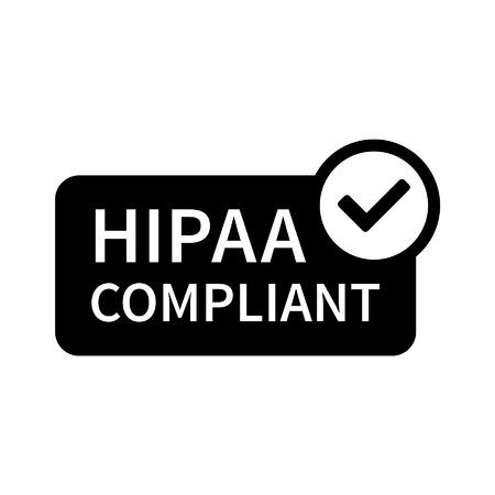 caja fuerte: Seguro de Salud Ley de Portabilidad y Responsabilidad - HIPAA icono de la l�nea de arte insignia para aplicaciones y sitios web