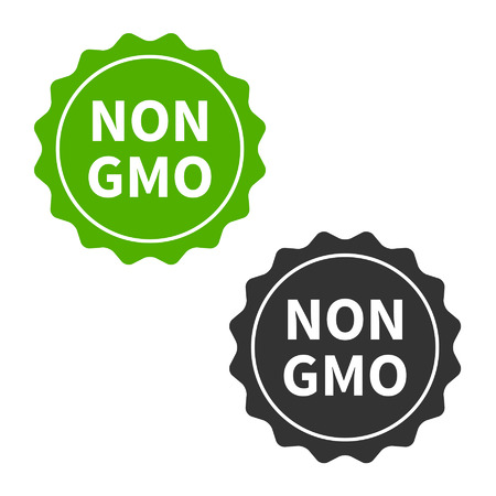 non: Non GMO or GMO free food packaging seal or sticker flat icon