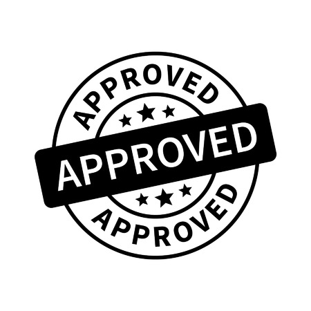 Approved stamp, label, sticker or stick flat icon
