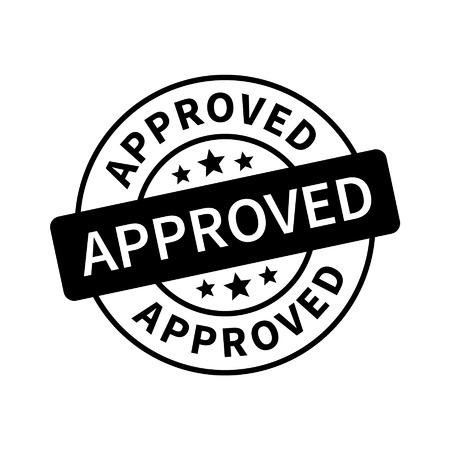 stamp: Aprobado sello, etiqueta, pegatina o un palo icono plana
