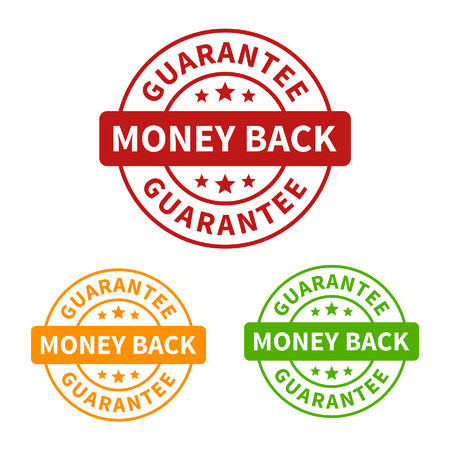 gold seal: Money back guarantee seal or stamp flat icon Illustration