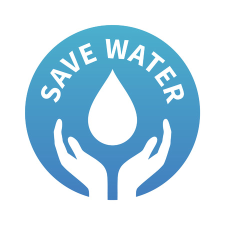 Water conservation - save water - badge or seal gradient icon