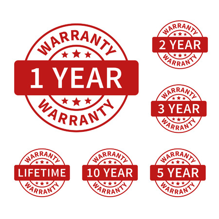 1, 2, 3, 5, 10 years and lifetime warranty label or seal flat icon