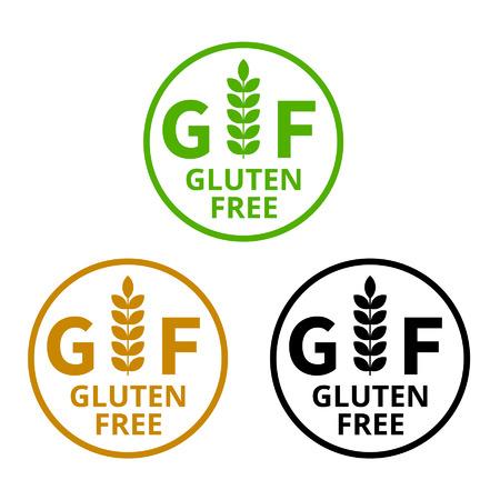 sello: Sin etiqueta de los alimentos sin gluten gluten o icono plana etiqueta