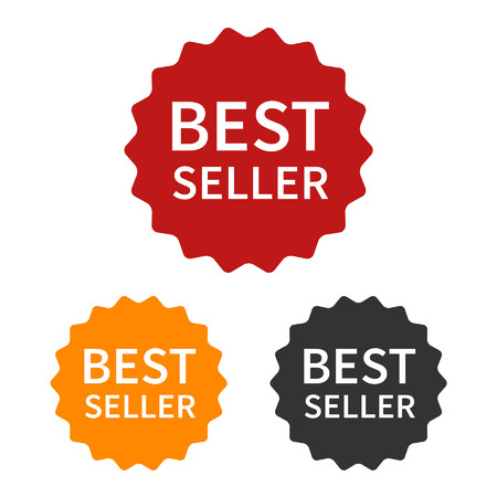 seller: Bestseller best seller label or sticker badge flat icon