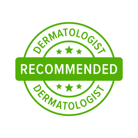 dermatology: Dermatologist recommended label sign flat icon