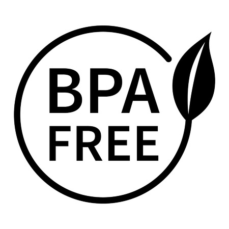 BPA bisphenol A and phthalates free flat badge icon for non toxic plastic Vectores