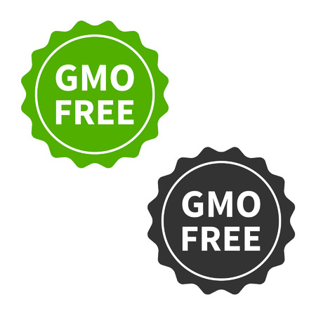 genetically modified crops: Non GMO or GMO free food packaging seal or sticker flat icon