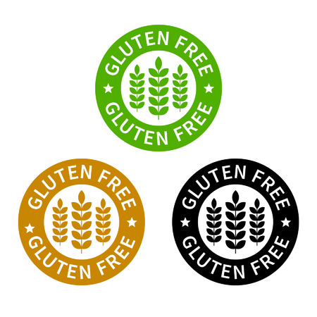 gluten: No gluten  gluten free food label or sticker flat icon Illustration